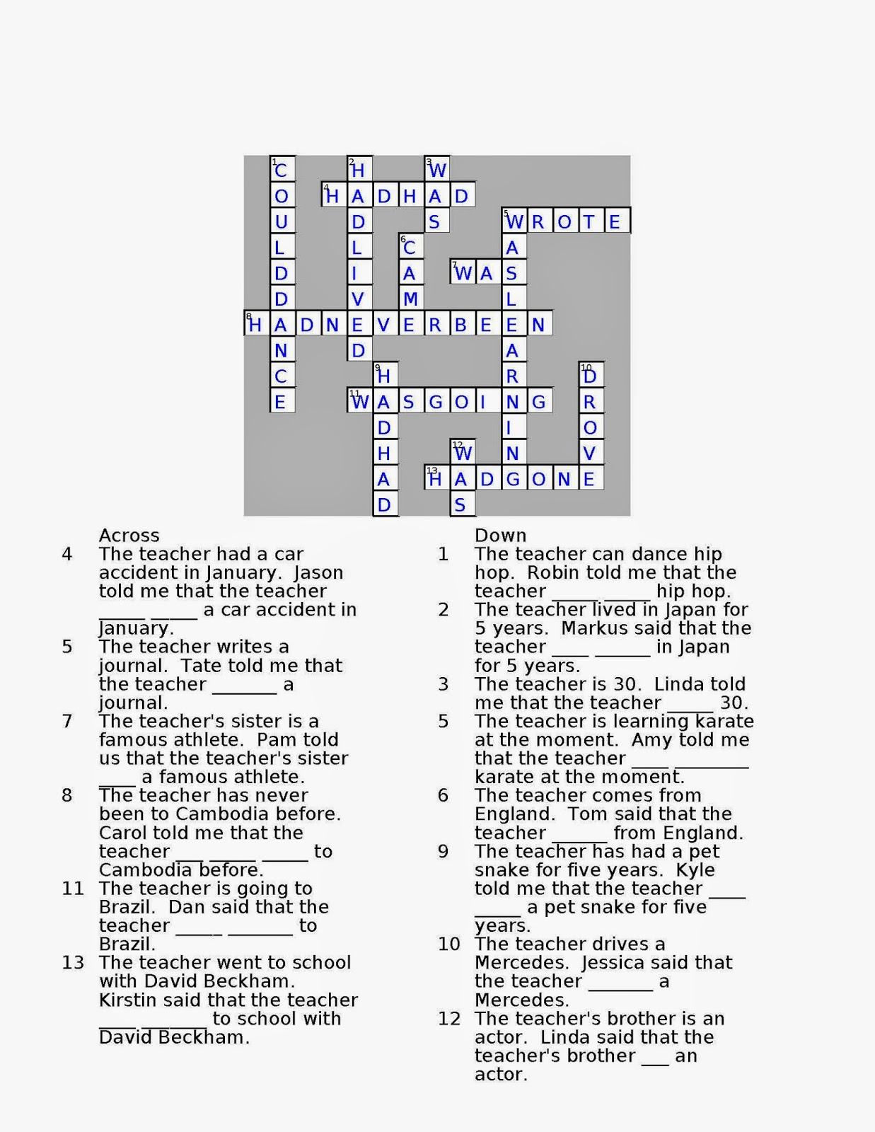 Random Book and Movie Reviews: Reported Speech Crossword