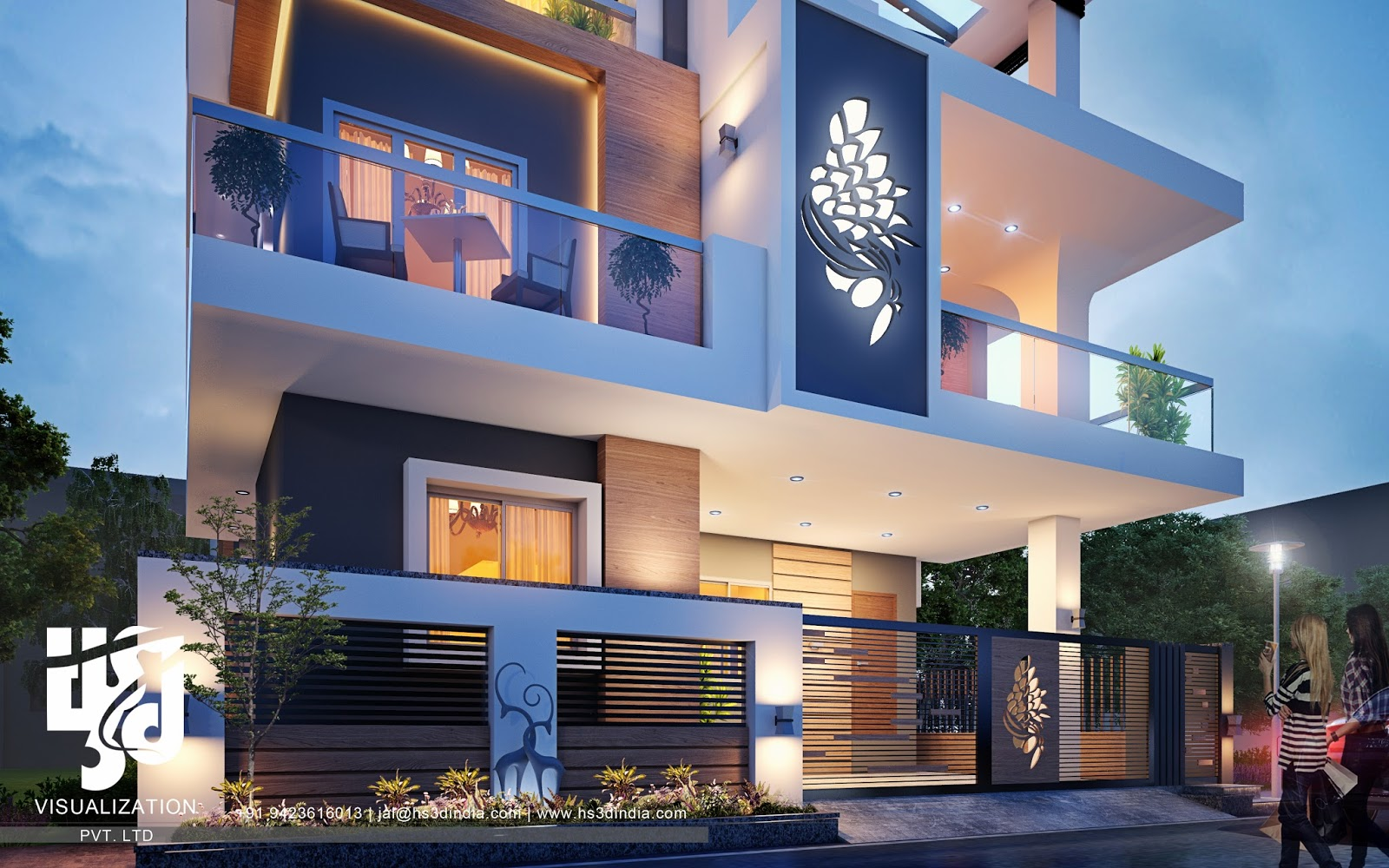 3d architectural visualization 3d exterior night rendering for Exterior villa design photo gallery
