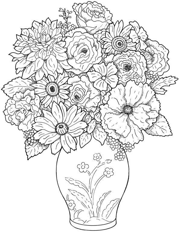 Dessins et coloriages page de coloriage grand format - Dessiner un vase ...