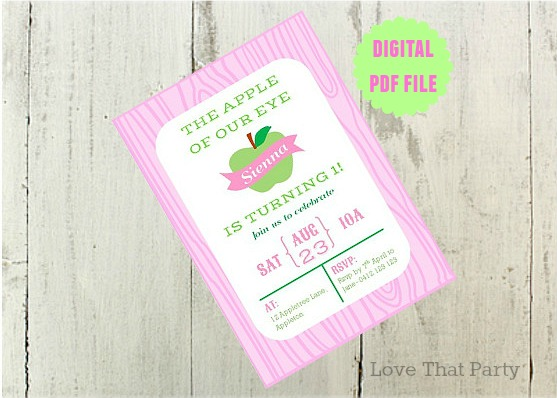 Image Of Apple Themed Fruit Party Invitation Pink And Green