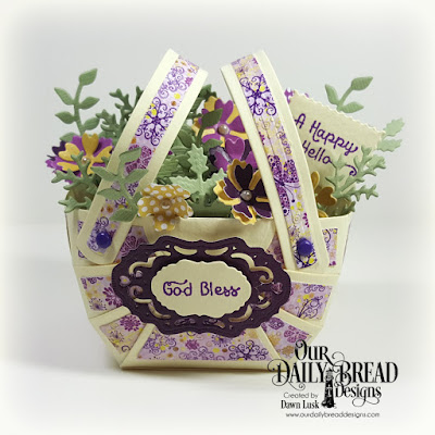 Our Daily Bread Designs Stamp Set: A Happy Hello, Our Daily Bread Designs Paper Collections: Plum Pizzazz, Whimsical Wildflowers, Our Daily Bread Designs Custom Dies: Bountiful Basket, Leaves & Branches, Bitty Blossoms, Mini Tags, Vintage Borders, Vintage Labels