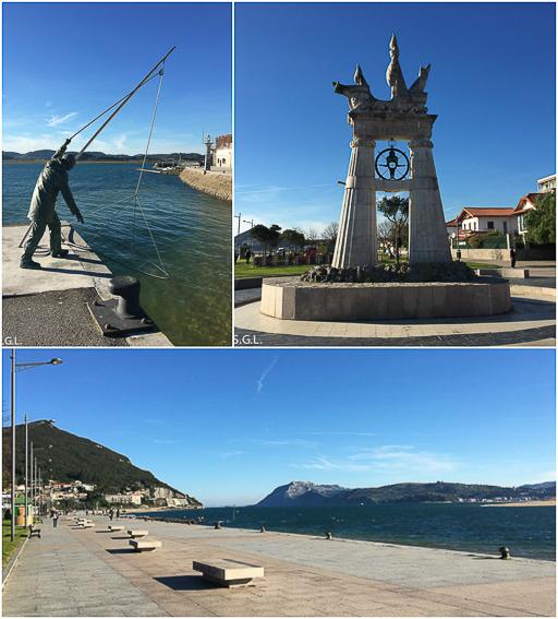 Paseo maritimo de Santoña. Monumento al Sulero y Juan de la Cosa.