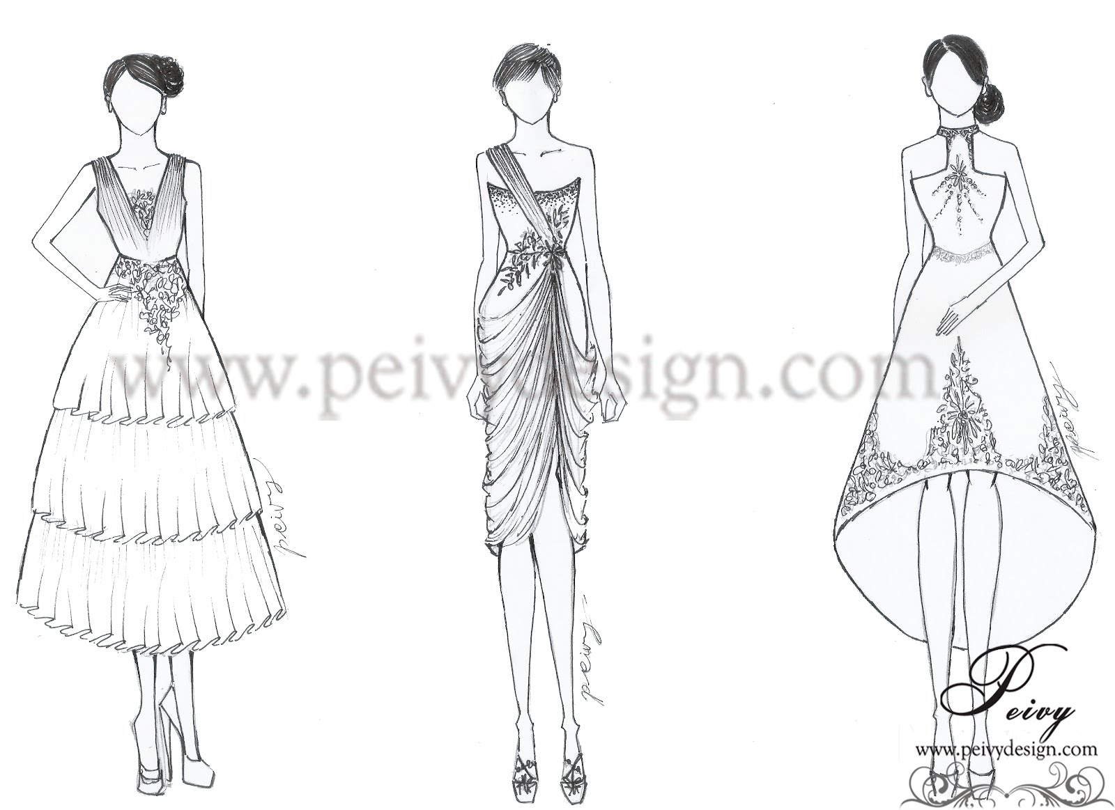Peivy For Your Special Moments Sketch Gaun Berpotongan Midi By