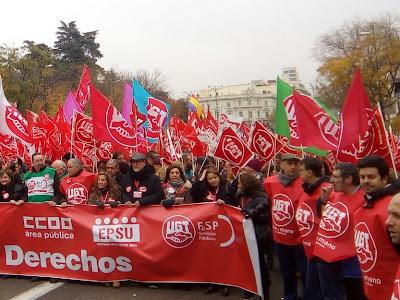 Manifestación en Madrid #AHORALOPÚBLICO. SALARIOS, EMPLEO Y DERECHOS