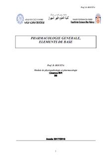 Cours PHARMACOLOGIE GENERALE ET PHYSIOPATHOLOGIE SVI S6
