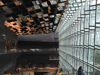 Harpa interior - mirrored ceiling and glass wall