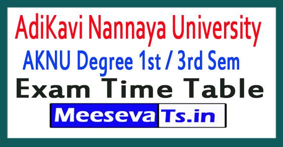 AdiKavi Nannaya University AKNU Degree 1st / 3rd Sem Exam Time Table 2017