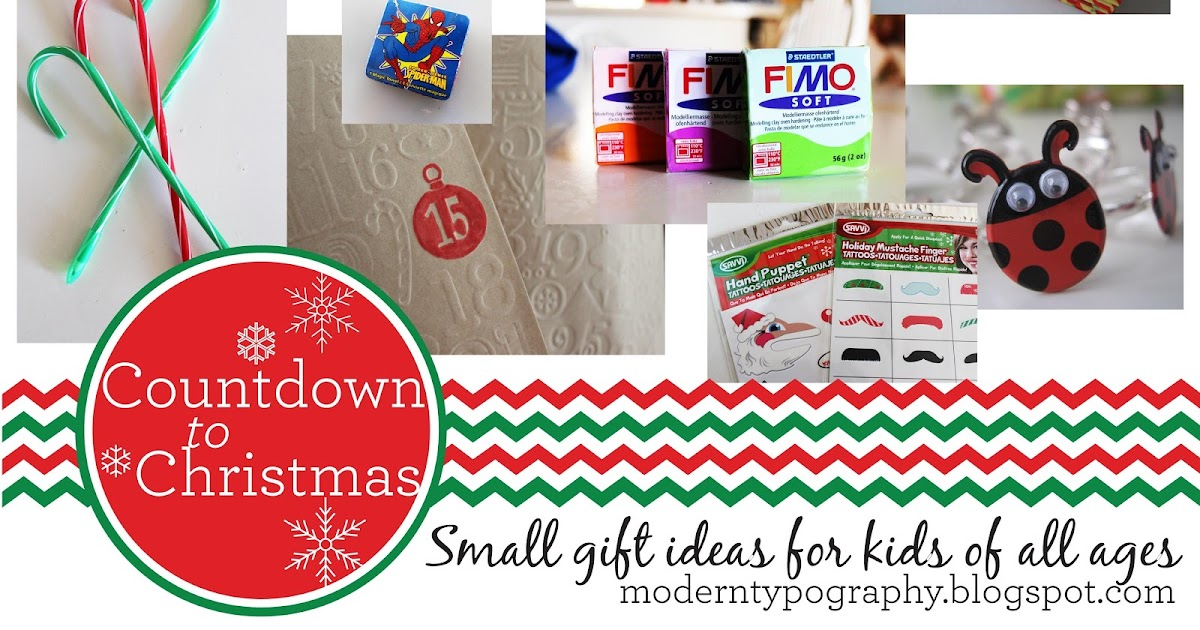 Innovative Christmas Gift Ideas: Modern Typography: Countdown To Christmas: 25 Small Gift Ideas