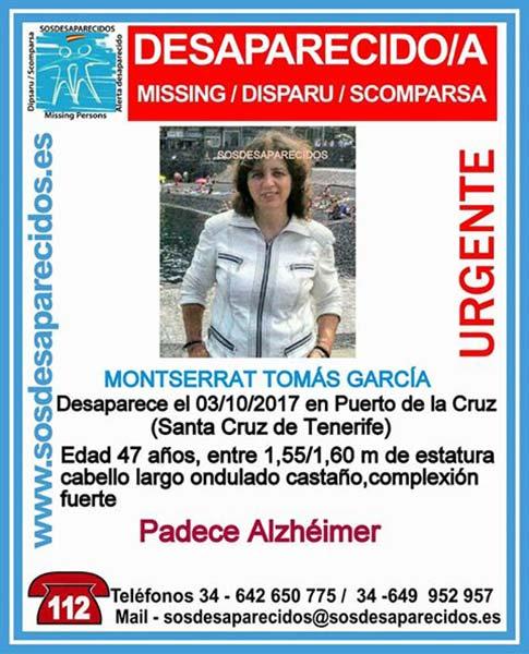 Mujer con Alzheimer desaparecida en Puerto de La Cruz, Tenerife Montserrat Tomás  García