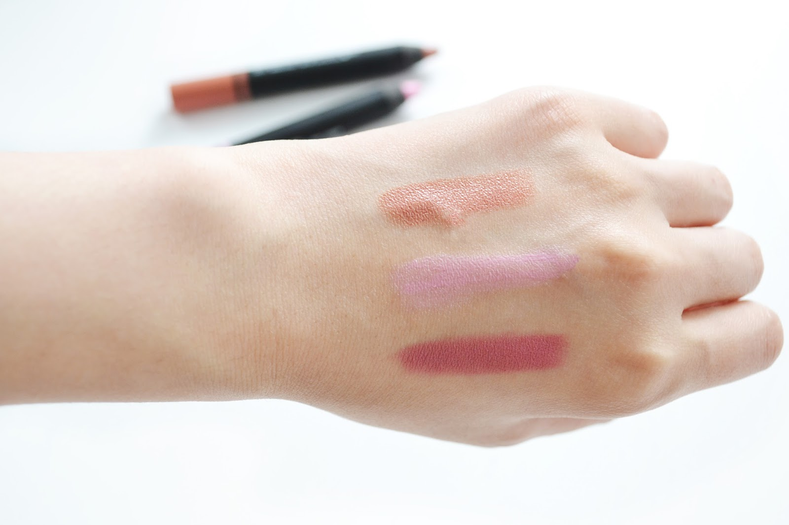 NARS lipstick swatches in biscayne park, stourhead and sex machine