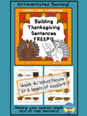 Build Thanksgiving sentences with pictured words! Free from Looks-Like-Language