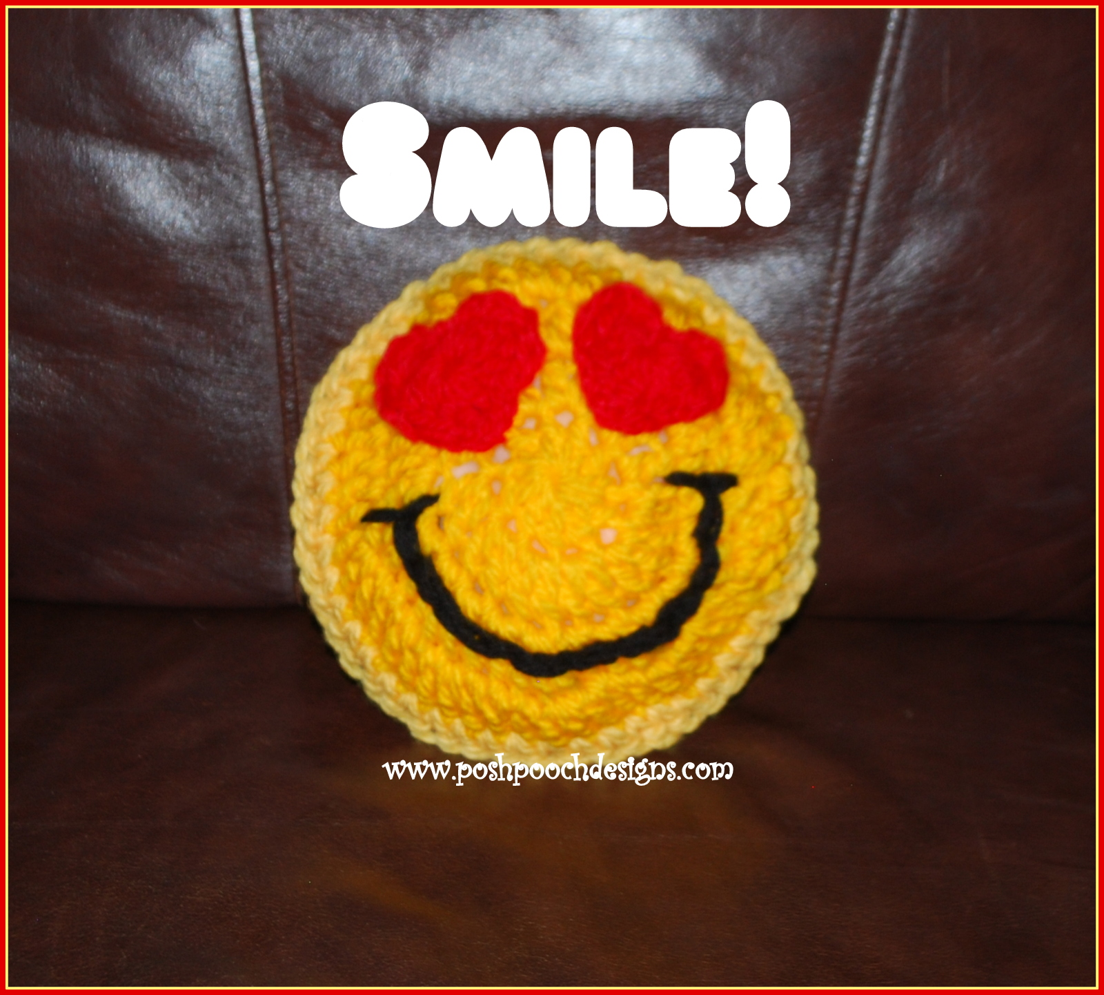 Crocheting Emoji : ... Dog Clothes: Emoji Smile Pillow Crochet Pattern Posh Pooch Designs