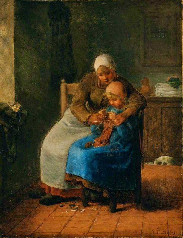 Aula de Tricô - Millet, Jean-Francois e suas principais pinturas | Realismo