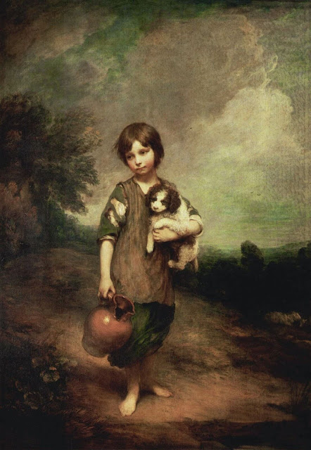 Thomas Gainsborough – A Peasant Girl With Dog and Jug [1785]