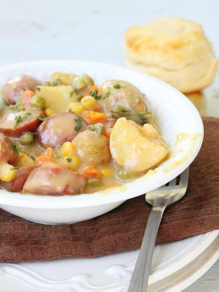 Crock Pot Sausage Potato and Cheese Stew
