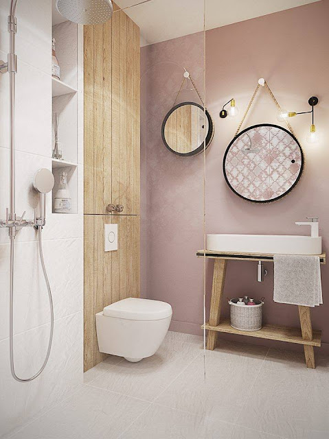 A beautiful house in pastel and earthy tones - Salle de bain romantique bois ...