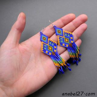 купить яркие синие серьги с орнаментом украшения ручной работы интернет магазин россия