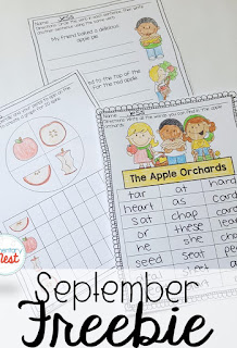 FREE September ELA and Math worksheets- September Activities and primary resources plus three FREEBIES- fun ELA, math, and social studies activities for students during the month of September