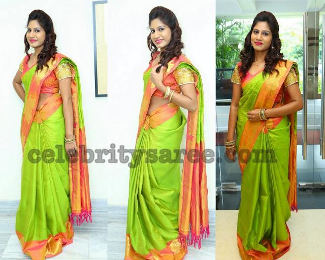 Satvi Lingala Green Silk Saree
