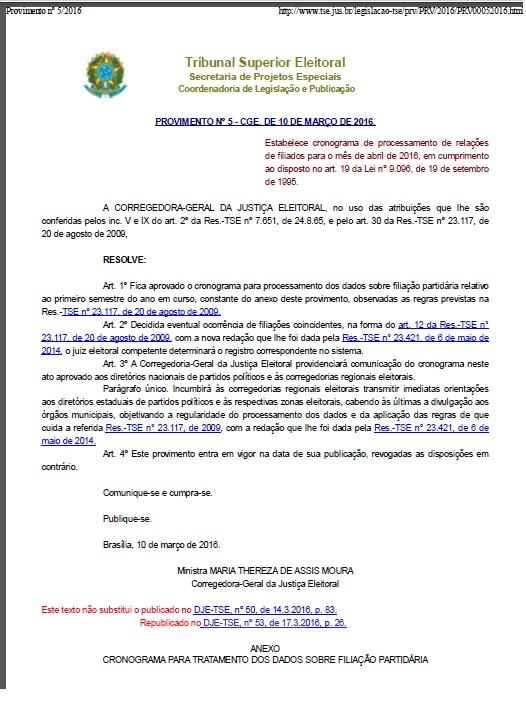 baaafb1398f Filiação partidária  Prazo final para submissão da relação de filiados  termina esta semana