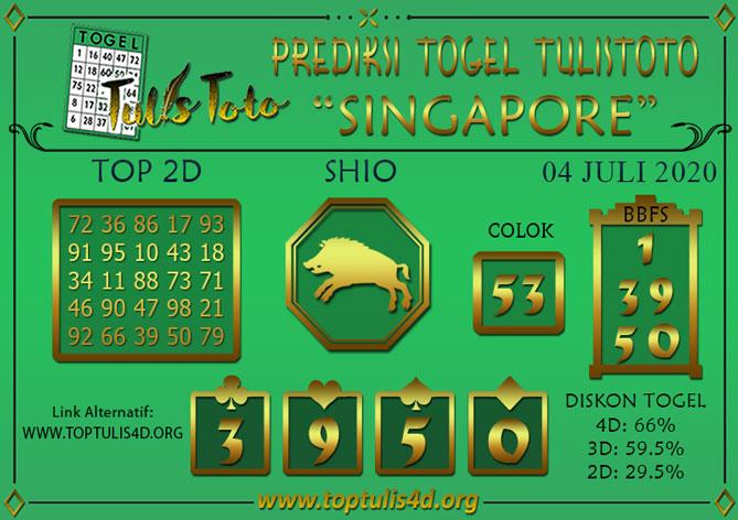 Prediksi Togel SINGAPORE TULISTOTO 04 JULI 2020