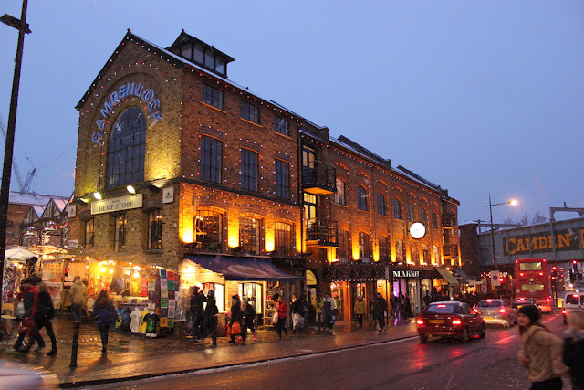 An evening view of the Camden Lock Market Hall in London