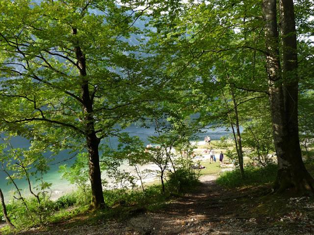 Foto de la Playa del lago Bohinj en el interior del camping Zlatorog. Ruta en autocaravana por eslovenia | caravaneros.com