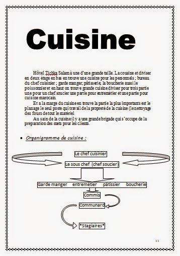 Rapport de stage hotoliere for Rapport de stage en cuisine exemple