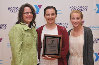 """""""YotY Sam Bellavance, mother, sister"""":  Pictured with the Franklin Y's Youth of the Year Samantha Bellavance (center) are Sam's mother, Anne Marie Bellavance (left), and sister, Emily Bellavance"""
