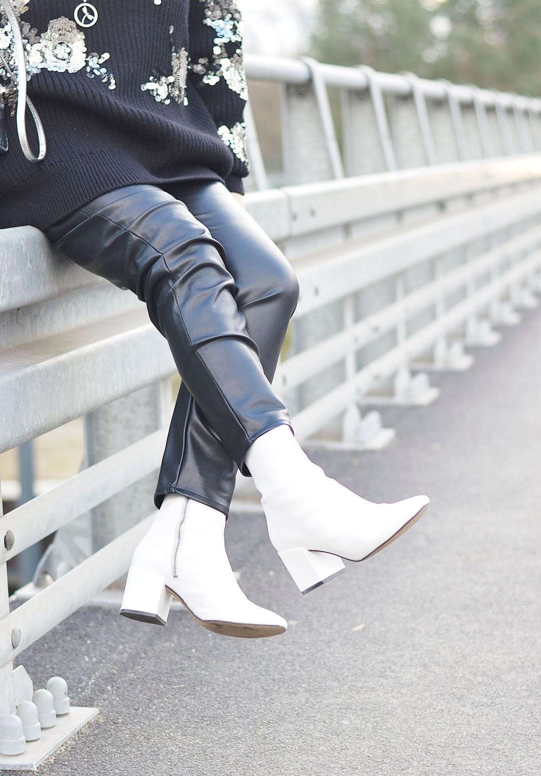 Białe botki, białe skórzane botki, hot trends white boots, hot winter trends white boots