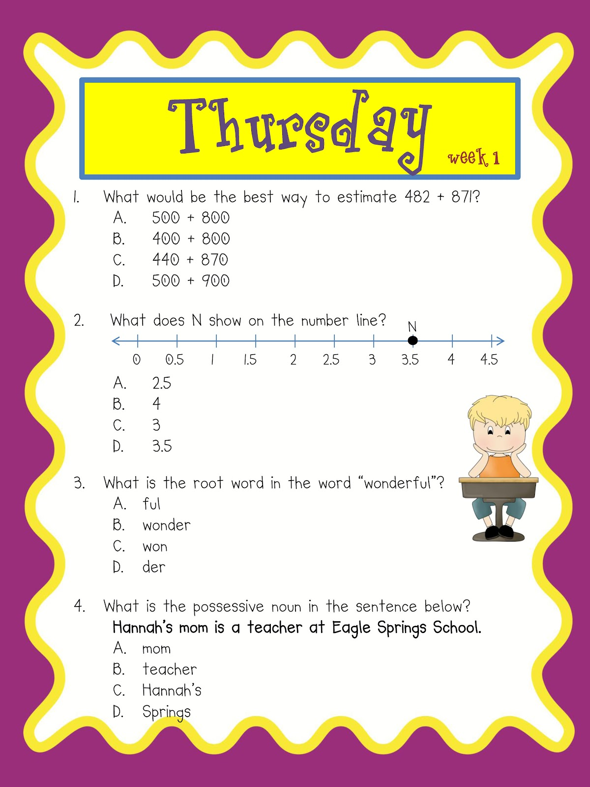 3rd Grade G Vine Testing Review Daily Math And Grammar