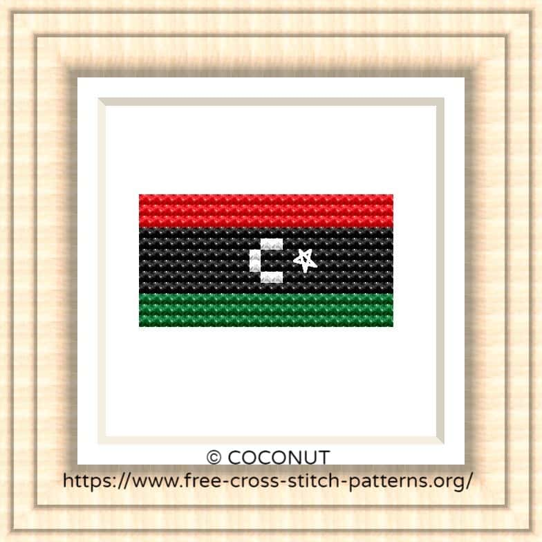 NATIONAL FLAG OF LIBYA CROSS STITCH CHART