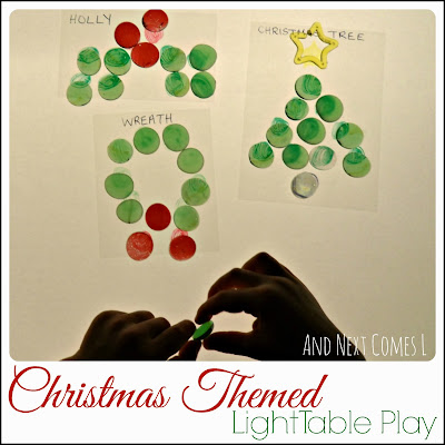 Christmas themed light table play from And Next Comes L