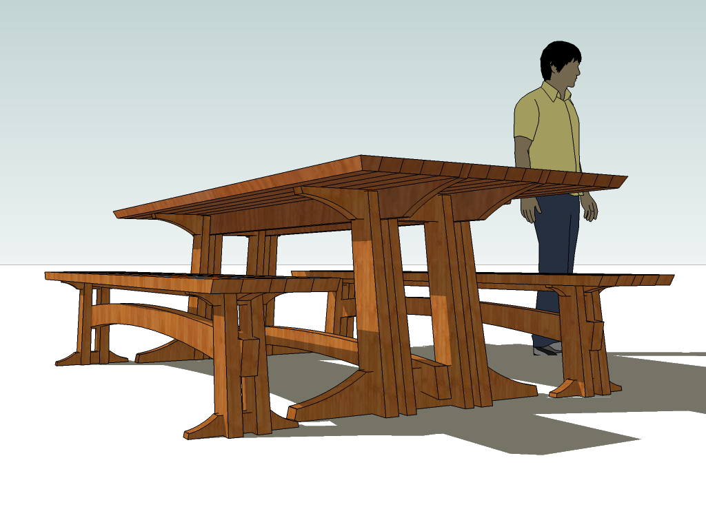 trestle table bench plans | woodideas