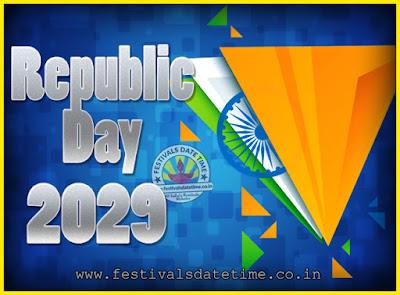 2029 Republic Day of India Date, 2029 Republic Day Calendar