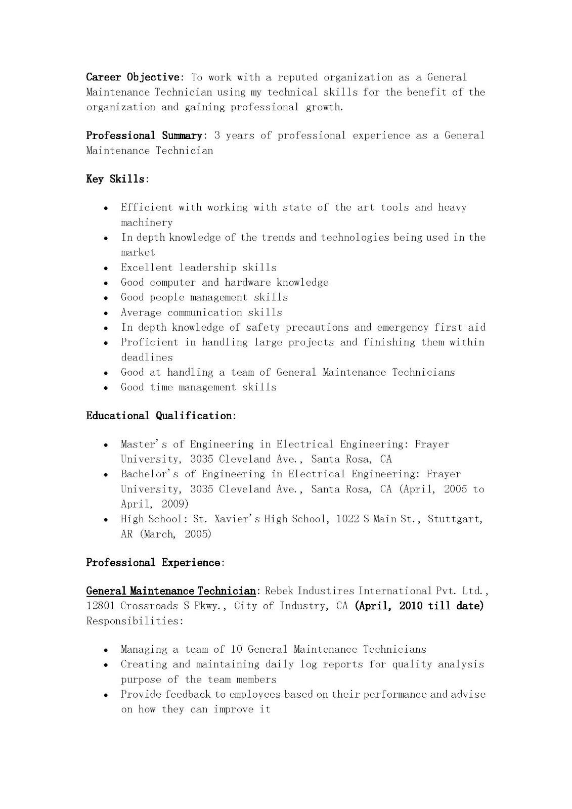 Resume Maintenance Or Mechanical Engineer