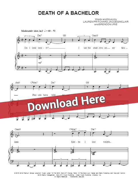 panic at the disco, death of a bachelor, sheet music, piano notes, score, chords, download, keyboard, guitar, tutorial, lesson, bass, klavier noten, partition