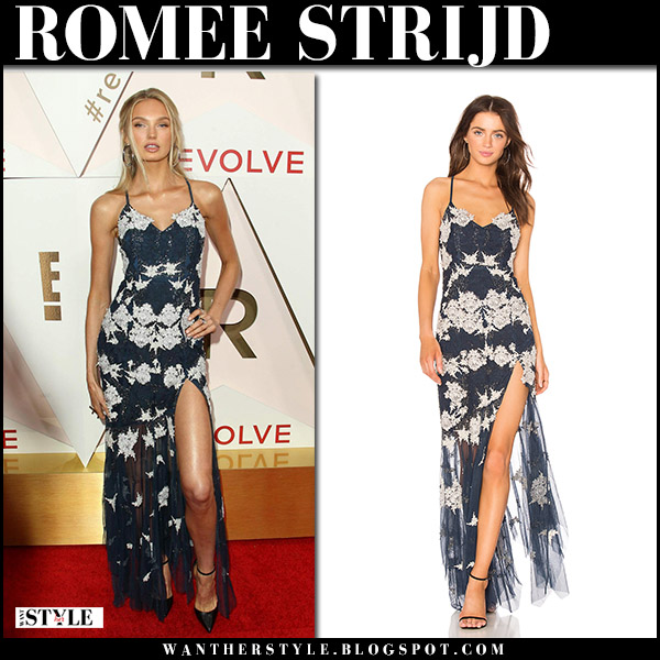 Romee Strijd in blue embroidered dress on the red carpet at Revolve awards outfit november 2 2017