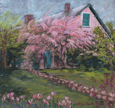 Le Maison de Monet in Giverny pastel house portrait painting by Mary Benke
