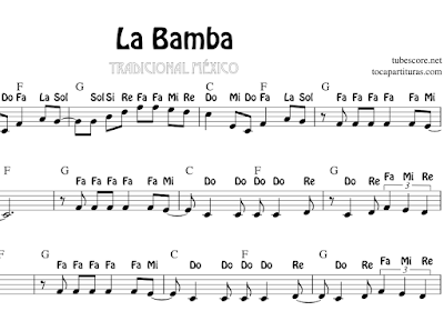 La Bamba by The Lobos Sheet Music for Flute, Violin, Alto Saxophone, Trumpet, Viola, Oboe, Clarinet, Tenor Sax, Soprano Sax, Trombone, Flugelhorn, Cello, Bassoon, Baritone Sax, Euphonium, Horn, English Horn, Tuba... Tablature For Guitar Tabs
