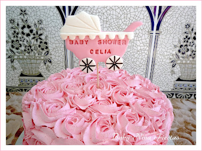 tarta rosas baby shower