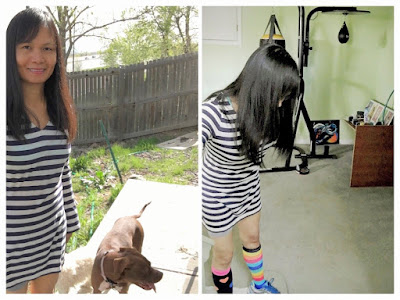 stripes outfit, mismatched clothes