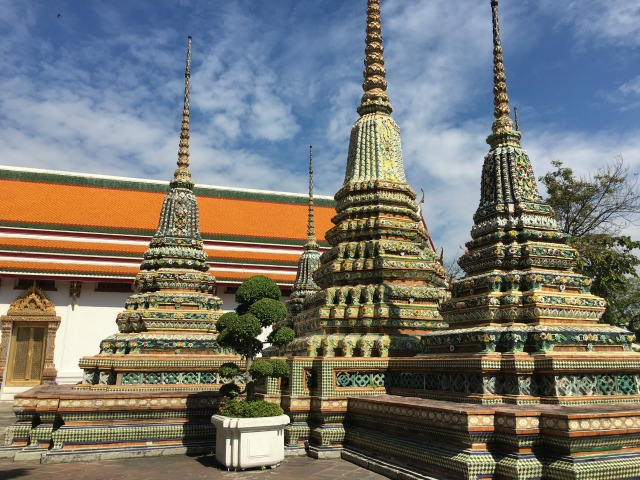 Inside Wat Pho, Temple of the Reclining (Sleeping) Buddha in Bangkok Thailand