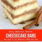 Easy Delicious Churro Cheesecake Bars