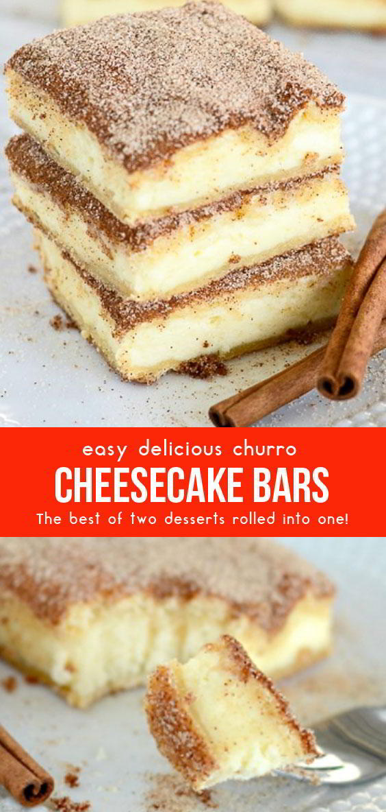 Easy Delicious Churro Cheesecake Bars