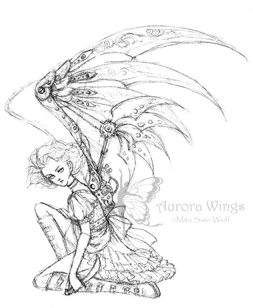 Aurora wings fantasy art of mitzi august 2011 for Dark angel coloring pages