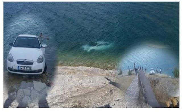 Freni çekilmeyen araç baraja düştü