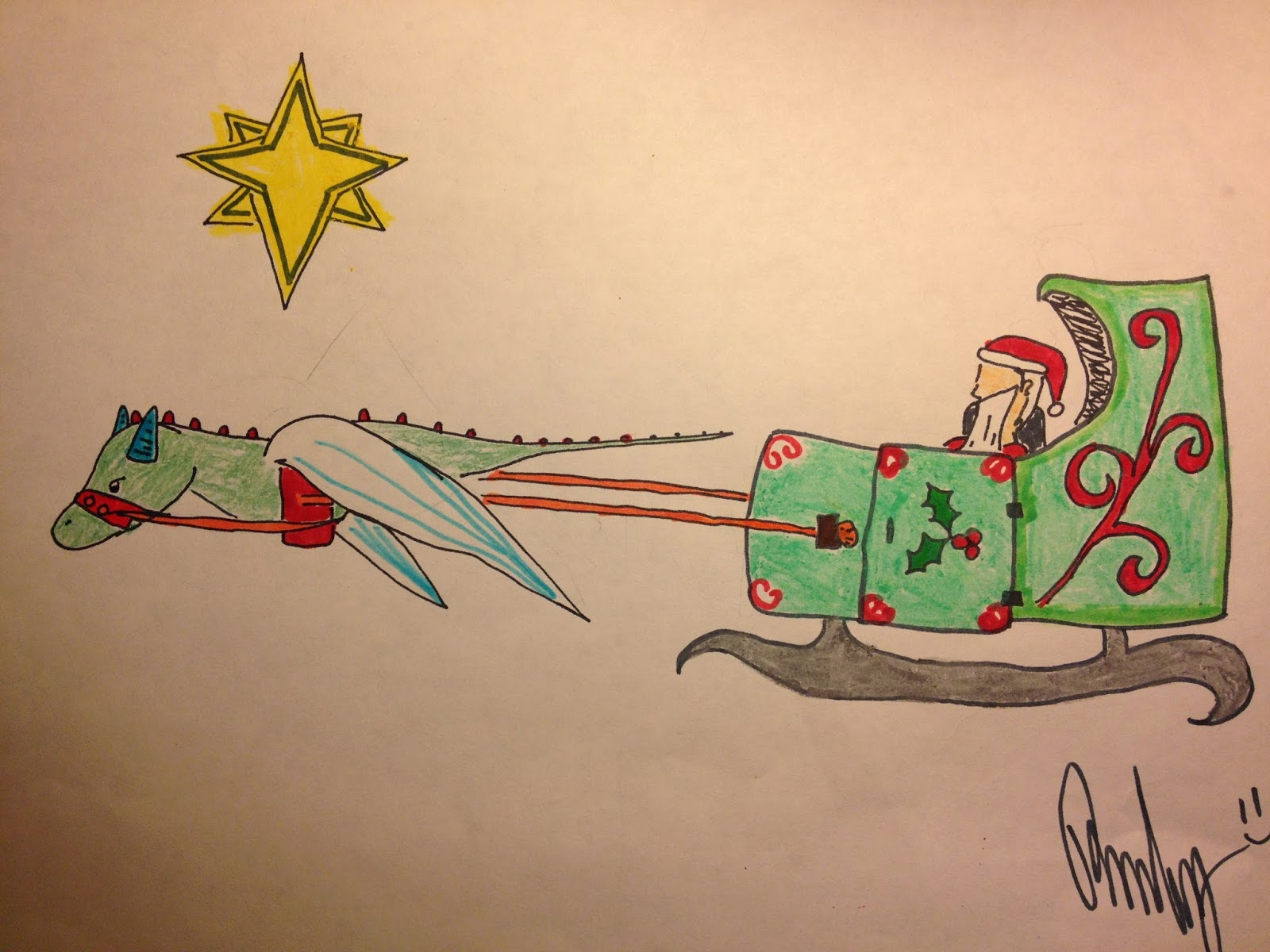 Santa's sleigh being pulled by a dragon