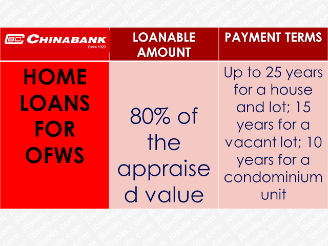 Overseas Filipino Workers (OFWs)  are not rich despite being able to earn higher salary abroad. There are times that they need to reach out to someone for their financial needs.  When they need to have their own house or pay their mortgage,  they could use a loan to do it but finding the most accommodating bank or government entity to avail it might be difficult for them.  Being based overseas also limits their means and even capabilities to meet their needs with the various financial institutions in the Philippines.  The OFWs has buying power with over $24.35 billion worth of remittances has been sent to the Philippines last year. In this regard, local lenders have been more than willing to accommodate OFWs who are looking to loan cash.  Advertisement        Sponsored Links         BDO offers Personal, Home, and Auto Loans to OFWs through its Asenso Kabayan Program. Borrowers should at least be 25 years old but not more than 65 years old upon the maturity of the loan. You should be employed for at least 2 years abroad for skilled workers, and at least 3 years for domestic helpers taking home at minimum P10,000 gross monthly for Personal and Home Loans, and P50,000 per month for Auto Loan.  Borrowers can submit their application to callcenter@bdo.com.ph. You must also have an initial minimum deposit of P100 for peso account and $100 for dollar account to qualify for the loans. All forms can be downloaded at www.bdo.com.ph.   BPI grants Personal Loan, Housing Loan and Auto Loans to OFWs working abroad for at least 2 years and earning a minimum of P30,000 per month for Personal and Auto Loans, and a minimum of P40,000 for Housing Loans. Borrowers should be at least 21 years old and not more than 60 years old upon the maturity of the loan. You must be physically present at the BPI branch to sign the loan documents once it is approved. To apply online, visit www.bpiloans.com.   OFWs employed for at least 3 years and earning a minimum of P50,000 per month can apply for a Housing Loan at Chinabank. You must be at least 21 years old and not older 65 years old upon loan maturity, without any adverse credit findings such as court cases, bouncing checks, unpaid loans, cancelled credit cards, etc. For more information, check out www.chinabank.ph.   EastWest Bank offers Home and Auto loans to OFWs between 21 years old and up to 65 years old upon loan maturity, who earns a minimum of P40,000 monthly income. You can fill out the application form at www.eastwestbanker.com and submit necessary documents to csloans@eastwestbanker.com.   Land Bank offers home loans to OFWs through its Bahay Para sa Bagong Bayani Program. Borrowers holding a live contract from a reputable company, 21 years old but not more than 65 years old upon loan maturity, and without any CI/BI adverse findings are qualified to apply for the loan. Interested applicants can visit www.landbank.com for more information.   PNB offers home loans for OFWs based in Singapore, Japan, New York and Los Angeles, through its Own a Philippine Home Loan program. Borrowers based in Singapore must have a minimum gross annual salary of SGD 48,000 and your Total Debt Servicing Ratio must not exceed 60% of Gross Monthly Income.  Meanwhile, OFWs based in Hong Kong and Saudi Arabia can avail of PNB's Global Filipino Auto Loan program. You should be at least 21 years old and not more than 60 years old upon loan maturity to qualify. PNB also requires interested borrowers to have worked abroad for the last 2 years. You can visit www.pnb.com.ph for more details.   PSBank has a Own Your Home and Drive Your Car program for OFWs who aspire to buy property and cars. Borrowers have to be 21 years old and up to 65 years old upon the maturity of the loan. You must have worked for at least 2 years and earning a combined family income of P30,000 to qualify for a home loan. PSBank also requires a residential real estate property for collateral. Visit www.psbank.com.ph for more information   Security Bank offers housing and auto loans to OFWs who have worked abroad for at least 2 years and are least 21 years old, but not more than 65 years old upon loan maturity. Borrowers must be earning a combined household income of at least P50,000 for housing loans; a minimum monthly income of P40,000 for brand-new car buyers; P20,000 for pre-owned car buyers.  Interested borrowers must complete the necessary documents and scan them. Fill out the online application form at www.securitybank.com and upload the documents.   OFWs working for at least 2 years in a permanent capacity can apply for a housing loan at RCBC. Borrowers have to be at least 21 years old upon application but not more than 65 years old upon loan maturity. You can visit www.rcbcsavings.com for more information.   OFWs employed for the last 12 months with a minimum gross monthly income of P30,000 can apply for a home loan at UCPB. Visit www.ucpb.com to learn more.   OFWs who have remitted at least 24 monthly contributions can qualify to avail of Pag-IBIG's affordable housing loan. New members may, may alternately pay the 24 monthly contributions in lump sum. Borrowers must be below 65 years old, without any outstanding Pag-IBIG housing loan nor multi-purpose loan in arrears. As an additional requirement, you should not have had a Pag-IBIG housing loan that was foreclosed, cancelled, bought back due to default or subjected to Dacion en Pago. For more information, visit www.pagibigfund.gov.ph. Certified OFWs who have at least 36 monthly contribution and 24 continuous contributions can apply for a Direct Housing Loan Facility for OFWs offered by SSS. To qualify, borrowers must not have a previously granted SSS housing loan, or receiving final SSS benefits. The spouse of an existing borrower may still qualify for an SSS housing loan if the loan had been obtained before their marriage and the loan isn't delinquent. You can visit www.sss.gov.ph for more information.   READ MORE: Do You Want College Scholarship? Check This Out Now!   No HSWs Has Been Sent To Kuwait Yet After Lifting Of Ban    In Demand College Courses Which Only A Few Take Up    OFWs Must Save, Get Insurance And Have An Investment    OFW Help Desks From TESDA Now Available at International Airports    Signs That You And Your Partner Have An Unhealthy Communication    It's More Deadly In The Philippines? Tourism Ad In New York, Vandalized    Earn While Helping Your Friends Get Their Loan    List of Philippine Embassies And Consulates Around The World    Deployment Ban In Kuwait To Be Lifted Only If OFWs Are 100% Protected —Cayetano    Why OFWs From Kuwait Afraid Of Coming Home?   How to Avail Auto, Salary And Home Loan From Union Bank