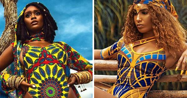 Women models wearing Black-owned swimwear brands
